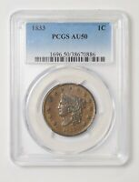 1833 Large Cent Capped Head. PCGS AU50. Nice Problem Free Coin