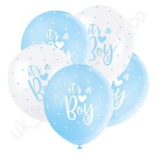 ITS A BOY PEARLISED BABY SHOWER BALLOONS, Blue White Hearts, Decorations 56115