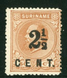 Surinam 1892, NVPH 21A perf 14 small holes, UNG as issued Certificate Muis