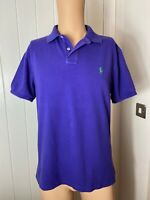"Mens Polo Shirt Ralph Lauren Size Large L Short Sleeve Purple Custom Fit 22"""