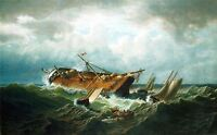 PAINTING SEASCAPE BRADFORD SHIPWRECK NANTUCKET LARGE REPRO POSTER PRINT PAM1482