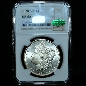 1878-P 8TF MORGAN SILVER DOLLAR ✪ NGC MS-64 CAC ✪ $1 TAIL-FEATHER UNC ◢TRUSTED◣