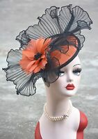Womens Sinamay Fascinator Feather Cocktail Hat Wedding Kentucky Derby Party A325