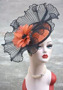 Womens Sinamay Fascinator Feather Cocktail Hat Wedding Church Tea Party A325