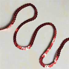 """1/5"""" 6MM Red Sequins Sequin Beaded Braided Lace Trim 340#pi DIY Sewing 5yards"""