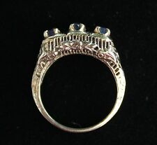 Antique 3 Sapphire 14K White Gold Crocheted Gallery Ring ~ Size 6
