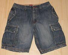 Vintage Mens Tommy Hilfiger Red Label Denim Cargo Shorts Snap Pockets Blue-31
