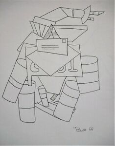 black white drawing 1960s