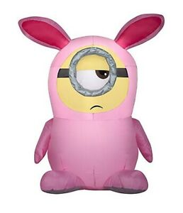 3.5' EASTER MINION STUART IN PINK BUNNY SUIT AIRBLOWN INFLATABLE LED LIGHTS YARD