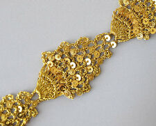 "4 Yards of Gold & Sequins. 1"" Wide, Handmade, Braid Trim. Net"