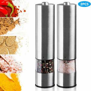 2x Electric Sea Salt Pepper Grinder Set Shaker Mills Adjustable Coarseness