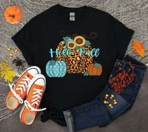 Hello Fall T-shirt Happy Halloween Leopard Pumpkin Cute Print Happy Gift