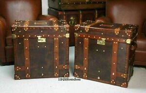 English Leather Pair Of Occasional Side Table Trunk & Chests Antique Leather