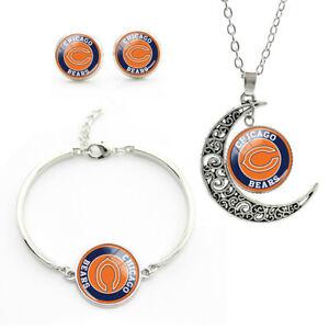 NF21 Chicago Bears team logo set -necklace, bracelet, earrings-