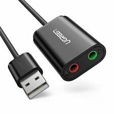 UGREEN USB to Audio Mic Adapter, USB External Stereo Audio Splitter for 3.5mm