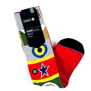 Stance Men Red Grey Crew Cotton Chocolate Flags Graphic Casual Socks L 9-12 NEW