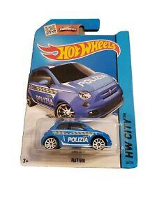 Hot Wheels City Fiat 500 Police Car, Blue, # 50/250