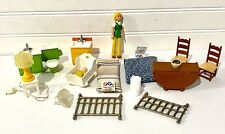 Vintage 1970's Fisher Price Dollhouse Furniture Accessory Lot Mom And Baby