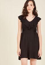 ModCloth Womens Black Knit Dress Ruffle Front Jersey Drawstring Sides Short S