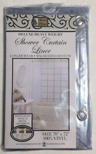 "100%Vinyl Deluxe Shower Curtain Liner ""Mildew Resistant, Reinforced, Magnetized"""