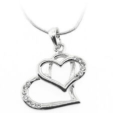 """Pendant with Crystals and 16"""" Chain Beautiful Silver Color Twin Heart Shape"""