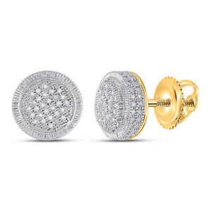 Yellow-tone Sterling Silver Mens Round Diamond Circle Earrings 1/10 Cttw