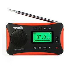 New TIVDIO Portable Radio FM MW SW World Receiver MP3 Player Sleep Timer Alarm