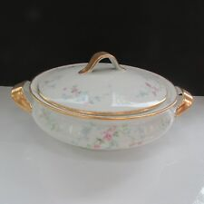 Theo. Haviland Limoges Pink Rose Garland Double Gold Covered Casserole France