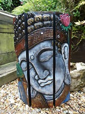 FairTrade Hand Carved Made Wooden Freestanding Thai Buddha Head Screen Plaque