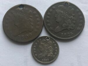 1809 Draped & 1825 Capped Bust Half Cents + 1837 Capped Bust Half Dime  w/ holes