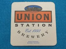 BEER Coaster: UNION STATION Brewery ~ Providence RHODE ISLAND ~ Est. 1993; Train
