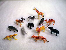 One Dozen Wild Animal Figurines Lion, Tiger, Elephant, Hippo, Rhino, Bear & More