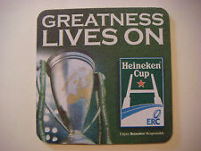 Beer Bar Coaster ~ HEINEKEN Rugby Cup ~ Greatness Lives On ~ Toulouse, Leicester
