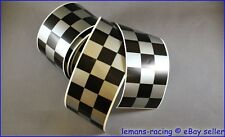 CAFE RACER Silver/Black Chequered Stripes Stickers Decals Tape 1260x60mm 2 pcs