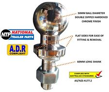 """CHROME TOW BALL 50MM - 3500KG - 22.2MM (7/8"""") SHANK - TRAILER HITCH TOWBALL 4WD"""