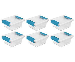 Sterilite Mini Plastic Storage Container with Aquarium Blue Latches (6 Pack)