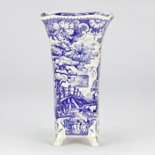 antique vintage style Blue white ornate Vase jar floral stripe farm New 26cm 10""