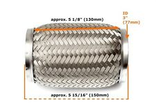 "Heavy Duty Exhaust Flex Pipe Stainless Steel Double Braided 5.91"" x 5.12"" x 3"""