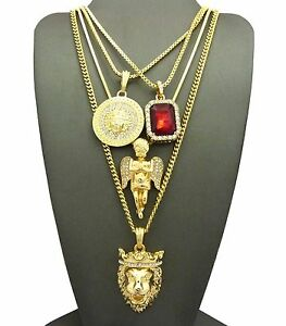 Iced KING LION, ANGEL, RUBY, MEDUSA PENDANT & BOX CHAINS NECKLACE SET GN050G