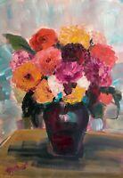 Print of Original oil painting art Flowers. Impressionism shabby chic home decor