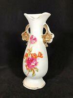 Vintage Flower and Gold Trim Vase Shaped Wall Pocket, Made in Japan