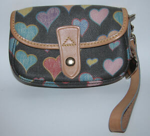 NEW! DOONEY & BOURKE Pastel Crayon HEART Mini CLUTCH Wallet HANDBAG WRISTLET