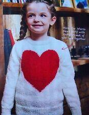 KNITTING PATTERN Childrens Love Heart Motif Jumper Sweater Girls PATTERN
