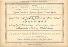 Stampa antica ALFABETI e NUMERI in stile Moderno 1898 Old Print Alphabet Writing
