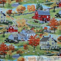 BonEful FABRIC FQ Cotton Quilt Green Grass Red Barn Farm House Scenic Horse Home