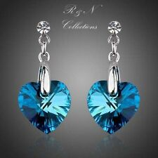 The Heart of the Ocean Platinum Plated Made With Swarovski Crystal Earrings E171