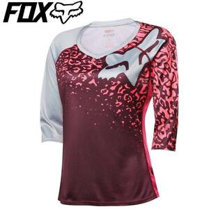 Fox Lynx 3/4 Sleeve Womens MTB Cycling Jersey - Neon Red