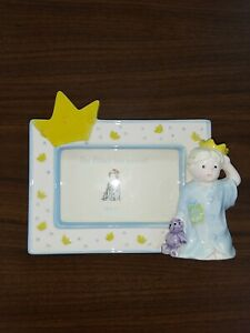 """Mud Pie Freestanding Baby Boy 3"""" x 4.5"""" Picture Frame """"The Prince Has Arrived"""""""