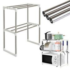 Küchenregal 2 Etagen Mikrowellenhalter Edelstahlregal mit 4 Haken 48x 25 x 64 cm