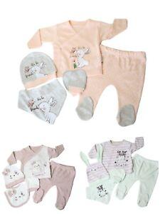 Babyset Newborn Starterset Geschenkset süß 5-tlg Mädchen Rosa Grün Apricot 62